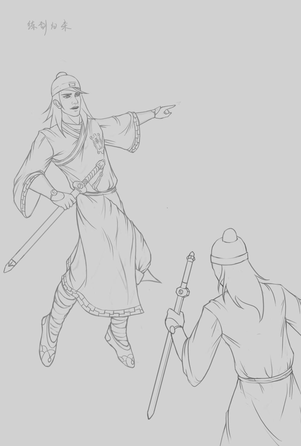 古装美女手绘练剑